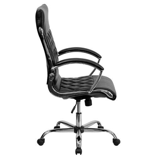 Flash Furniture High Back Designer Black Leather Executive