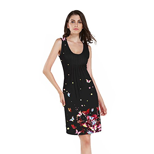Print Più Maniche Colori Stampa Sleeveless 8 2l Donne Birdfly Farfalla 2l 94 Plus 94 Size Butterfly Color Black Dimensioni Nero Vivid Vivido Dress 8 Senza Women Abito Birdfly 6wU1TqY