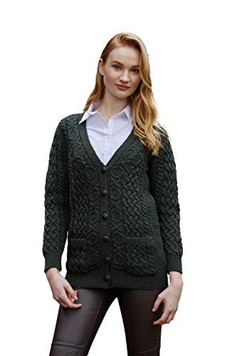 100% Irish Merino Wool Aran Knit Boyfriend Sweater by West End Knitwear