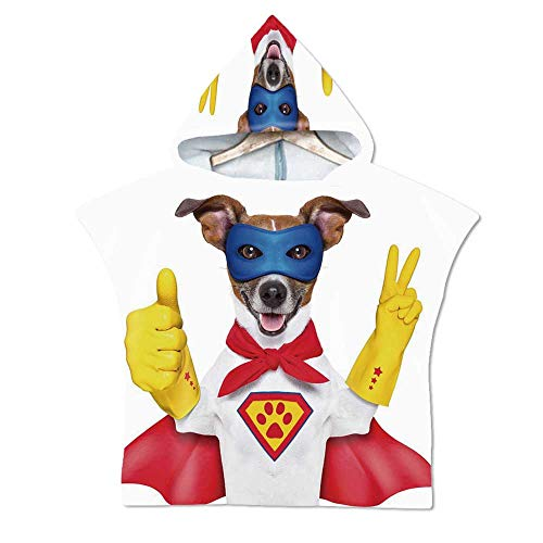 Superhero Soft Hooded Beach Bath Towel,Super Puppy Hero Dog in Cape and Mask Costume Humor Funny Cute Picture Decorative for Teenagers & Children,29.5''W x 43.3''H -