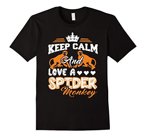 Black Spider Monkey - Mens Spider Monkey Shirt - Keep Calm And Love A Spider Monkey Tee 3XL Black