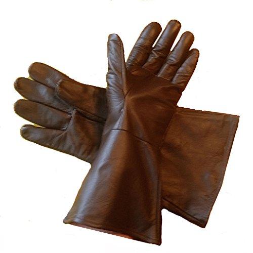 Leather Gauntlet Gloves DARK BROWN LARGE Long Arm Cuff ()