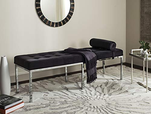 Safavieh FOX6240B Home Collection Xavier Tufted Bench, Black by Safavieh (Image #7)