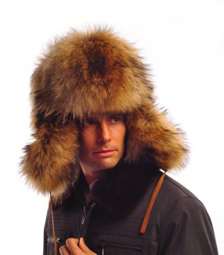 URSFUR Men's Raccoon Full Fur Russian Ushanka Trapper Hats Brown Z93 by URSFUR