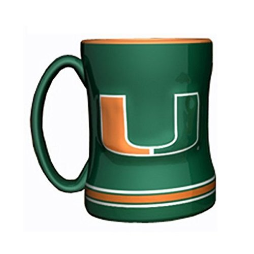 NCAA Miami Ceramic Coffee Cup | Miami Hurricanes 14oz. Relief Mug ()