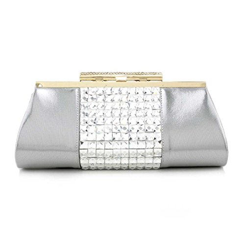Ladies'handbag Señoras Pintura De Diamantes Bolso De Noche Bolsa De Hombro Chica Silver