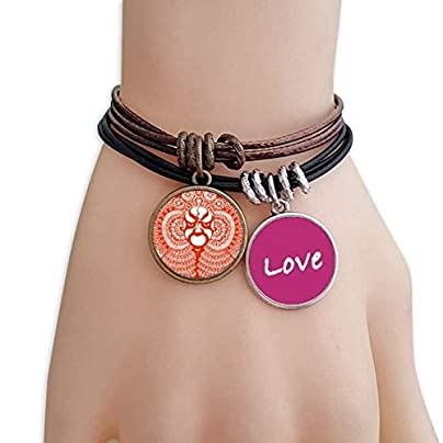 Metftus Red Paper-cut Art Chinese Opera Mask Love Bracelet Leather Rope Wristband Couple Set Estimated Price -