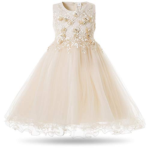CIELARKO Girls Dress Flower Pearls Kids Party Wedding Dresses for 2-11 Years (8-9 Years, Yellow) -