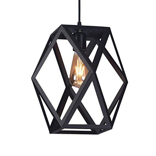 Black Finish 1 Bulb - Wideskall 1-Bulb Industrial Geometric Mini Pendant Lighting Fixture, 12-inch Shade, Matte Black Finish