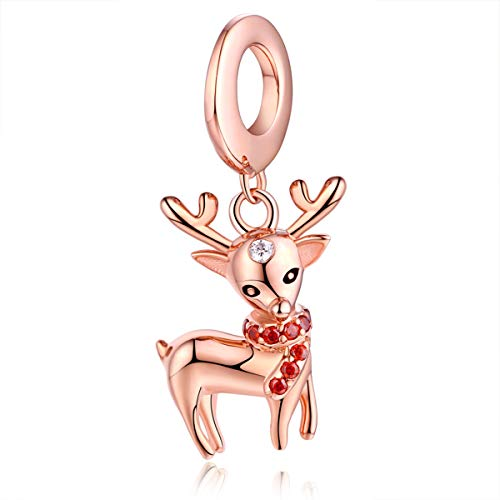 FOREVER QUEEN Vintage Flower Deer Elk Head Bead Sparkle Charms fit for Pandora Bracelets 925 Sterling Silver with Cubic Zirconia Rose Gold Plated Jewelry for Women and Girl (Reindeer Dangle Charm)