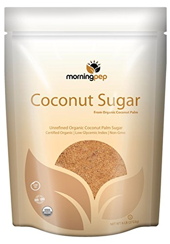 Morning Pep Coconut Palm Sugar USDA Certified Organic Gluten Free Non GMO Certified Kosher Large Bag, 6 lb (96 oz)