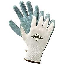 "MAGID ROC GP560 Nylon Glove, Gray Foam Nitrile Palm Coating, Knit Wrist Cuff, 9"" Length, Size 7 (144 Pair)"