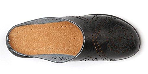 Wallking Slip Leather Black on 01 Clogs Labato Shoes Women's Mules Flats Slipper 4qnwCBxf8