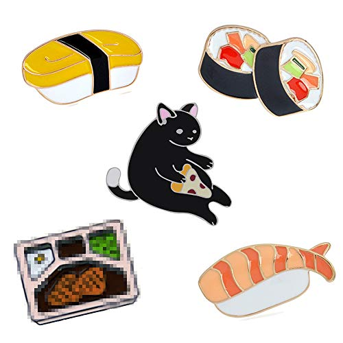 (5 Pcs Apanese Tuna Sushi and Cat Pins Animal Pin Brooch Clothes Bag Hat DIY Accessories)