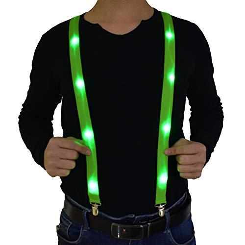 Light Up Y Shape Suspenders Adjustable & Elastic Trouser Braces for Women Men Adults Birthday Gifts Dress Up Neon Glow Party Costume (Green - Adults -