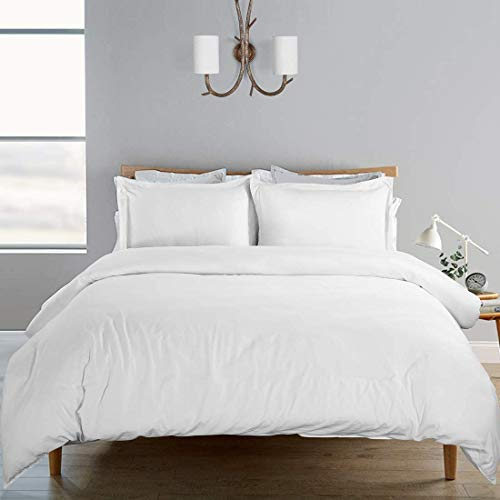 SORMAG Duvet Cover 3 Piece, 100% Washed Cotton, Solid Color and Ultra Soft with Zipper Closure, Corner Ties, Simple Bedding Style