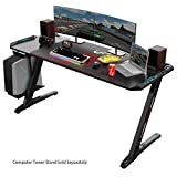 Eureka Ergonomic Z60 Gaming Desk, 60 inches Z Shaped PC Computer Gaming Desks Tables with RGB LED Lights Controller Stand Large Mousepad for E-Sport Racing Gamer Pro Home Office - Black