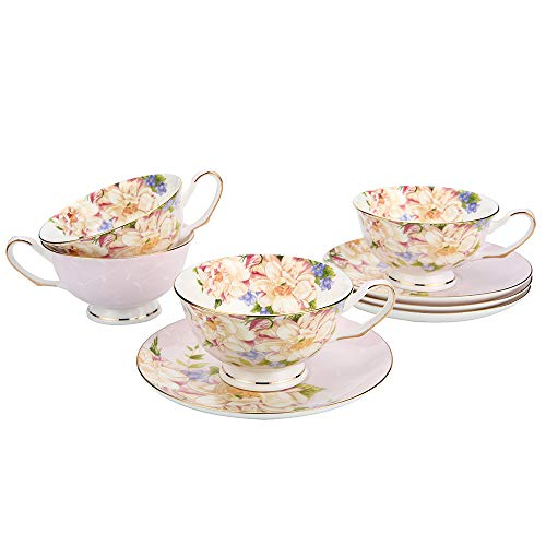 JinGlory Tea Cups,Floral Tea Cups and Saucers Set of 4,Bone China Tea Set,Pink Tea Set with Gold Trim and Box,Coffee Cups,Mocha Cups,Latte Cups,Cappuccino Cups,Tea Sets for Women