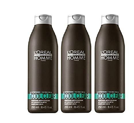 Loreal LP Homme Cool Clear Shampoo 3 x 250 ml Anti-Schuppen-Shampoo