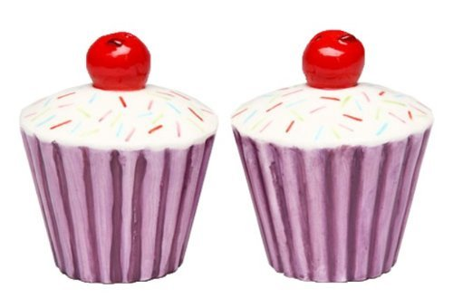 Appletree Design Purple Cupcake with Cherry Salt and Pepper Set, 2-5/8-Inch