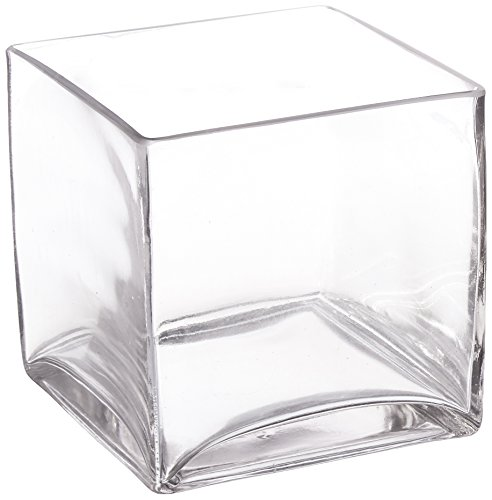 - WGV Clear Square Cube Glass Vase/Votive Candle Holder, 5-Inch