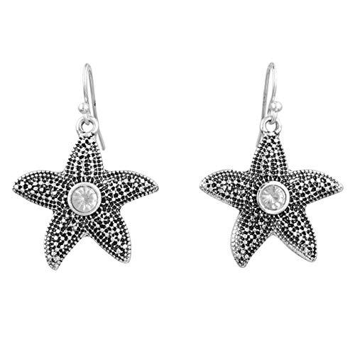 (Sealife Nautical Theme Rhinestone Bling Dangle Earrings - Mixed Styles (Silver Tone Starfish))