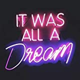 Queen Sense 14' It was All A Dream Neon Sign Light Decorated Acrylic Panel Handmade Beer Bar Pub Man Cave Lamp UT200