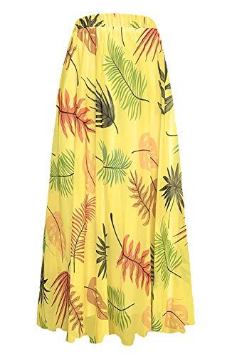Pretchic Women's Blossom Floral Chiffon Maxi Long Skirt Yellow1 -
