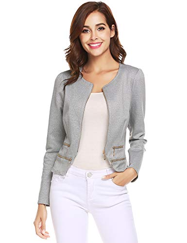 Zeagoo Women's Casual Zipper Cardigan Blazer O Neck Slim Fitted Office Jacket (M, Light Gray)