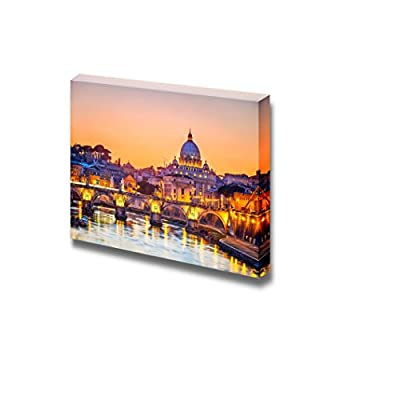 Canvas Prints Wall Art - Saint Peter Cathedral at Night, Rome, Modern Home Deoration/Wall Decor Giclee Printing Wrapped Canvas Art Ready to Hang - 32