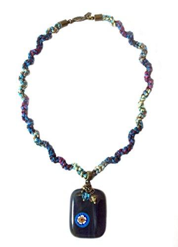 Handmade Fused Glass Pendant Necklace | Smoke Gray Pendant with Millefiori Flower | Multicolored Handmade Cord |
