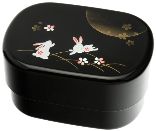 Kotobuki 2-Tier Autumn Rabbit Bento Box, Black