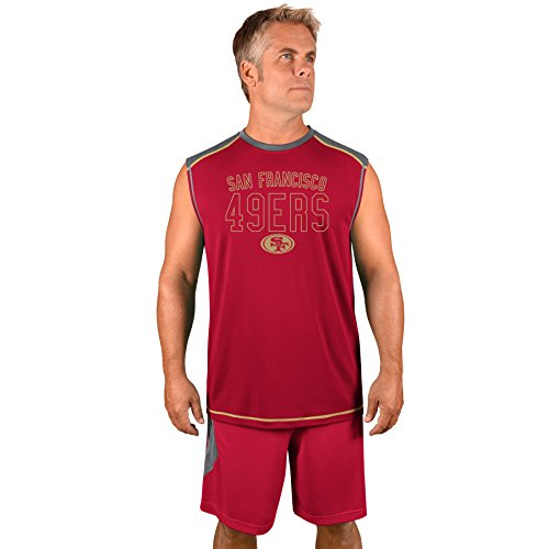 Profile Big & Tall NFL San Francisco 49ers Adult men NFL Plus S/Synthetic Muscle,2X,Storm Grey/Cardinal Red