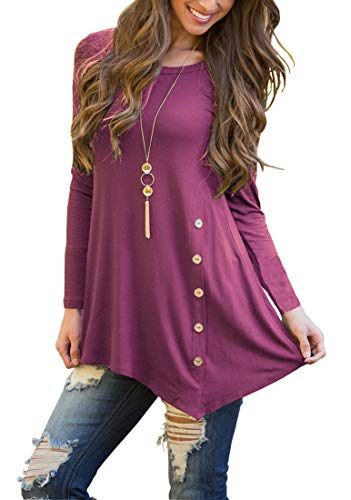 Jouica Long Sleeve Tunic Tops for Women Wear with Leggings or Jeans Blouse Mauve S