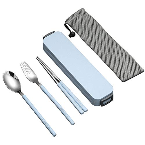 ArderLive portable untensil, 18/8 stainless steel 3 piece flatware set Chopsticks,Fork, Spoon Ideal for Travel, Lunch Box and Camping. ()
