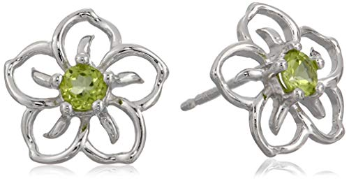 Ring Peridot Stone Genuine (Sterling Silver Genuine Peridot Flower Stud Earrings)