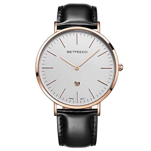 Betfeedo Dress Watches for Men Ultra-Thin Quartz Analog Watch with Genuine Leather Strap & Date Window