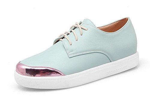 VogueZone009 Women's Blend Materials Round Closed Toe Low-Heels Assorted Color Pumps-Shoes Blue