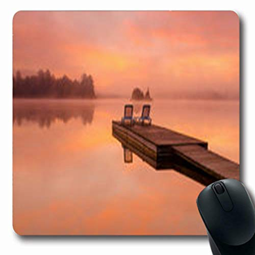 (Pandarllin Mousepads Serenity Peaceful Scene by Lake Dock On Nature Parks Outdoor Tranquility Oblong Shape 7.9 x 9.5 Inches Oblong Gaming Mouse Pad Non-Slip Rubber Mat )