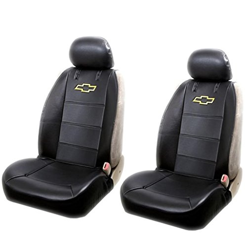 Amazon Chevy Logo Lowback Black Synthetic Leather Seat Covers Set Airbag Compatible Universal Fit Automotive