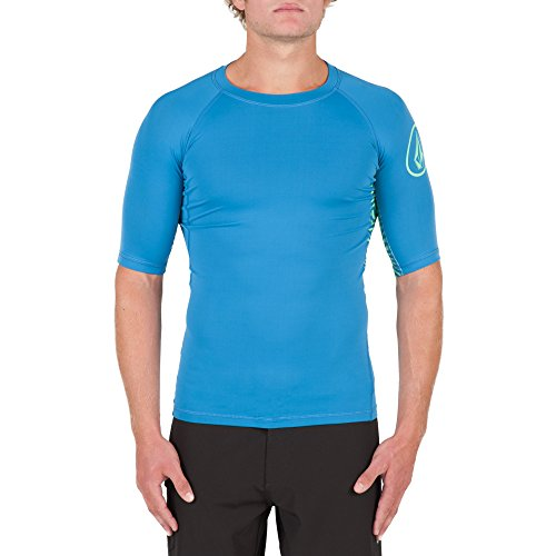 Volcom Young Men's Volcom Men's Vibes Short Sleeve Rashguard Shirt, -Deep Water, XS (Rash Short Sleeve Pro Guard)