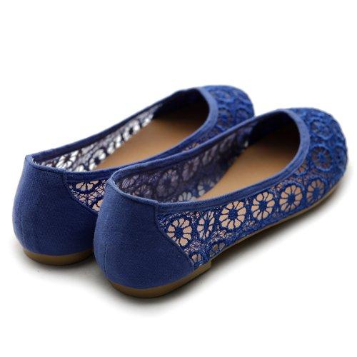 Ollio Damen Ballettschuh Floral Lace Atmungsaktive Flache Königsblau