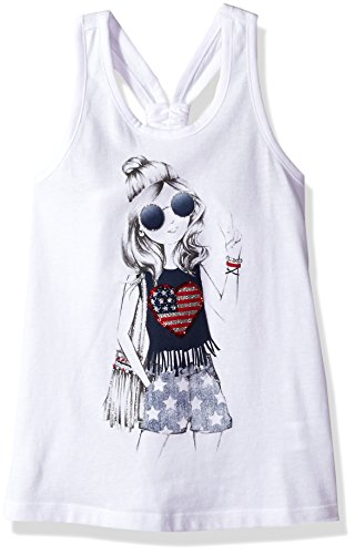 The Children's Place Big Girls' Americana Knot Back Tank Top, White, XXL(16) (Girls Top)