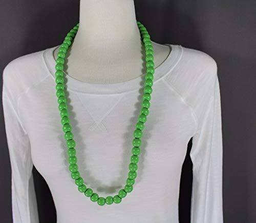 Green wood big bead long 30 necklace beaded wooden lightweight