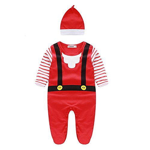 Funny Celebrity Costumes (Kimocat Christmas Outfit Set Baby Boys Girls Footie Romper With Hat Newborn Funny Elf Costume Sleepwear, Red (12/18M))