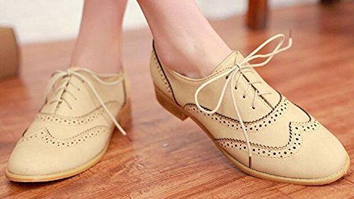 Womens Shoes Oxfords Toe Easemax Chic Lace Beige Round Up dqwgBwx