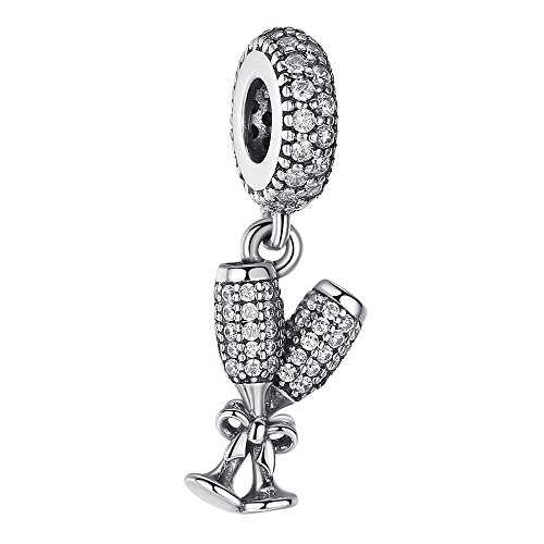Necklace Silver 925 Glass - ANGELFLY Red Wine Glass Charm 925 Sterling Silver Cubic Zirconia Pave Double Goblet Cup Dangle Charms for European Charm Bracelets