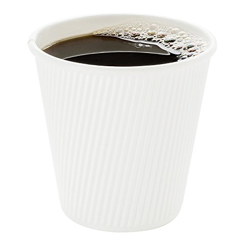 500-CT Disposable White 8-OZ Hot Beverage Cups with Ripple Wall Design: No Need for Sleeves – Perfect for Cafes – Eco-Friendly Recyclable Paper – Insulated – Wholesale Takeout Coffee Cup - White Disposable