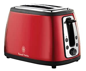 Russell Hobbs Cottage 18260-57 -Tostadora de acero inoxidable, 980 W, color rojo
