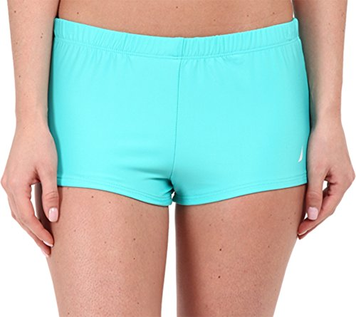 Nautica Women's Signature Boyshort Bikini Bottom, Aqua, 10